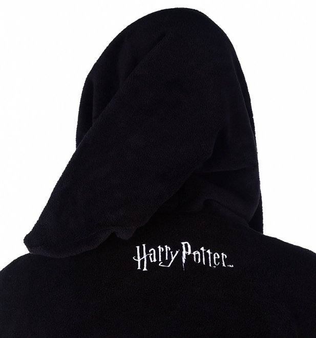Men's Black Harry Potter Deathly Hallows Hooded Fleece Dressing Gown