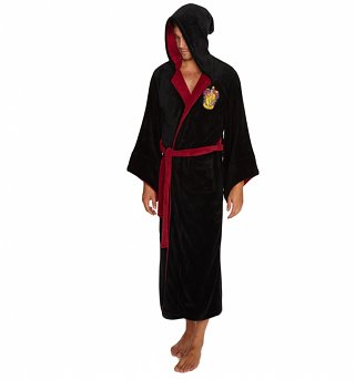 Men's Black Harry Potter Gryffindor Crest Hooded Dressing Gown