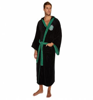 Men's Black Harry Potter Slytherin Crest Hooded Dressing Gown