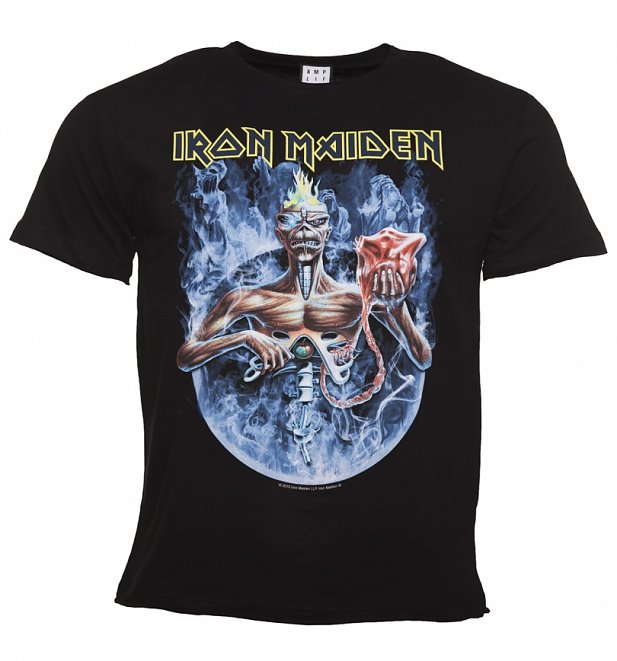 Men's Black Iron Maiden Seventh Son Circle T-Shirt from Amplified