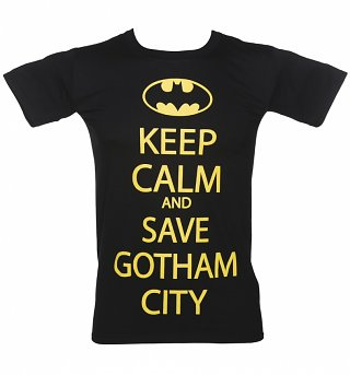 Men's Black Keep Calm And Save Gotham City DC Comics Batman T-Shirt