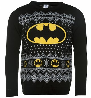 Men's Black Knitted Batman Fairisle Christmas Jumper