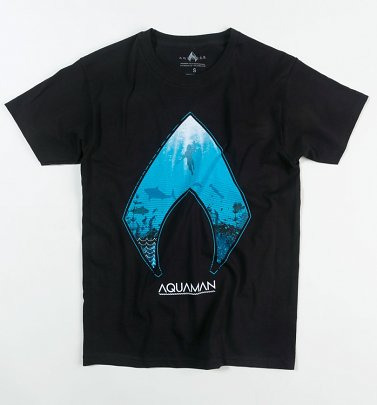 Men's Black DC Aquaman Ocean Logo T-Shirt