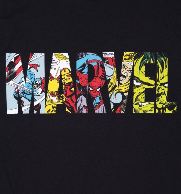 Herren schwarz Marvel Comic-Strip-Logo T-Shirt
