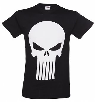 Men's Black Marvel Comics Punisher Skull Logo T-Shirt
