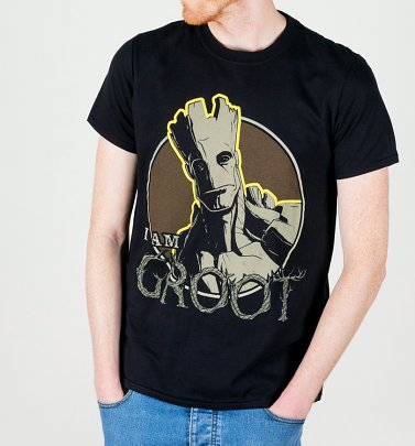 Men's Black Marvel I Am Groot T-Shirt
