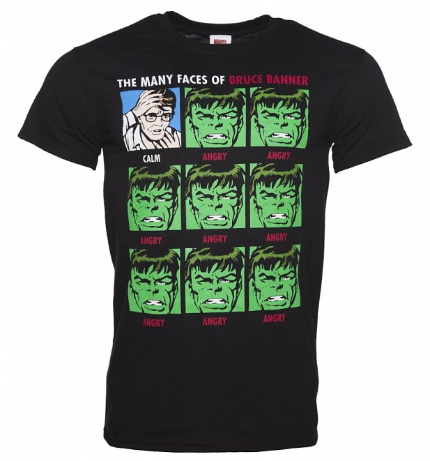 Men's Black Marvel Incredible Hulk Many Faces Of Banner T-Shirt