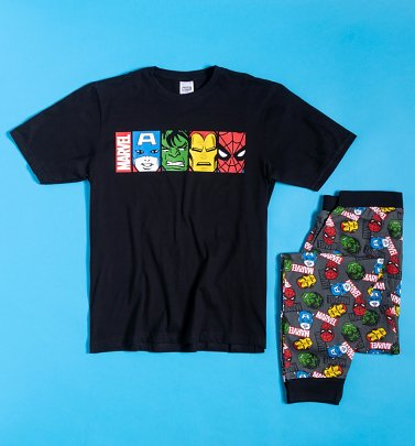 Men's Black Marvel Pyjamas