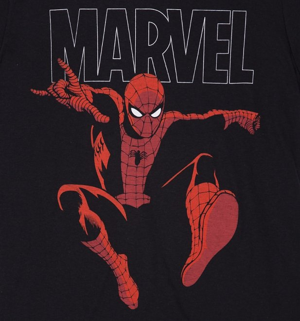 Men's Black Marvel Spider-Man Strike T-Shirt