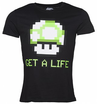 Men's Black Nintendo Get A Life T-Shirt