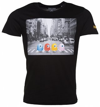 Men's Black Pac-Man Crossing T-Shirt