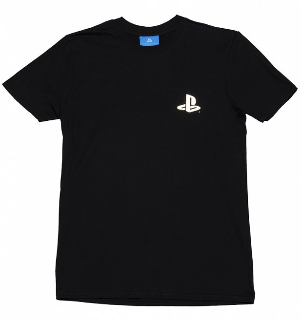 Men's Black PlayStation Player Gold Foil Print T-Shirt