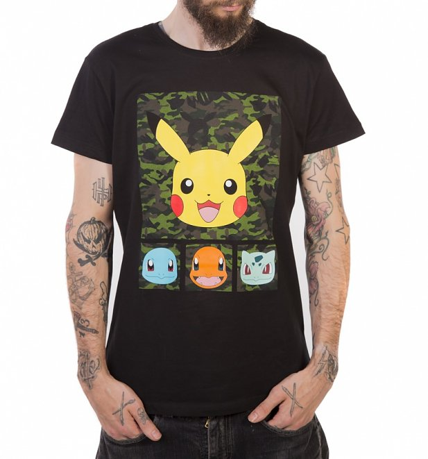 Men's Black Pokemon Pikachu And Friends T-Shirt