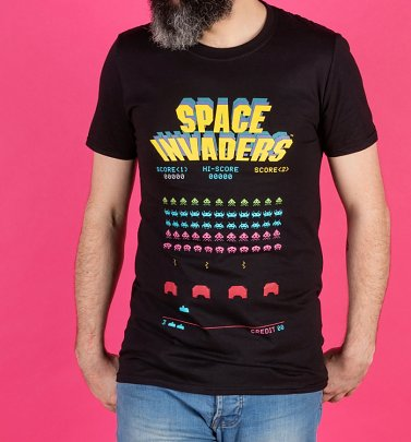Men's Black Space Retro Invaders T-Shirt