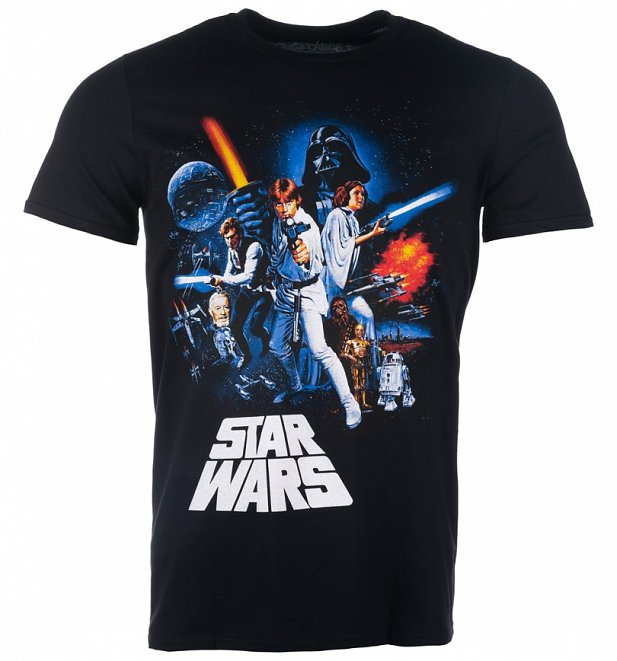 Men's Black Star Wars A New Hope Poster T-Shirt