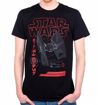Men's Black Star Wars Tie Fighter T-Shirt