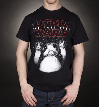 Men's Black Star Wars VIII The Last Jedi Porgs T-Shirt