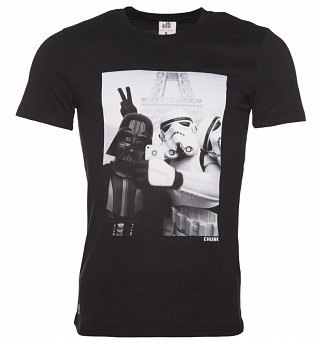 Men's Black Stormtrooper And Darth Vader Selfie Star Wars T-Shirt from Chunk