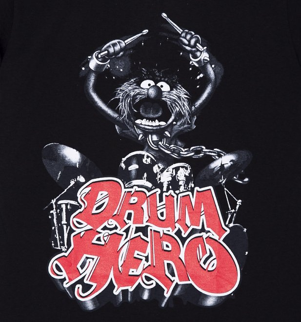 Men's Black The Muppets Drum Hero Animal T-Shirt