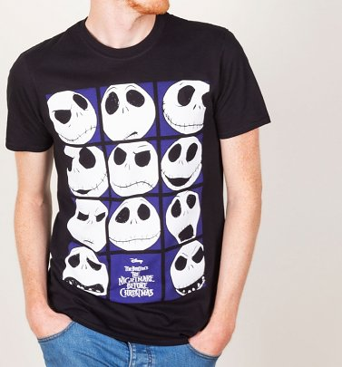Men's Black The Nightmare Before Christmas Jack Heads T-Shirt