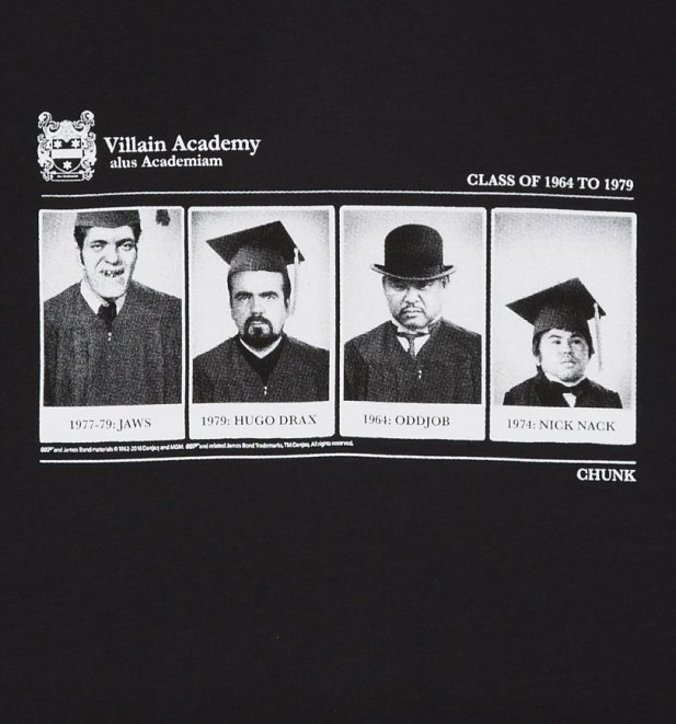 Men's Black Villain Academy James Bond T-Shirt from Chunk