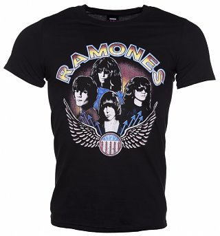 Men's Black Vintage Wings Ramones T-Shirt