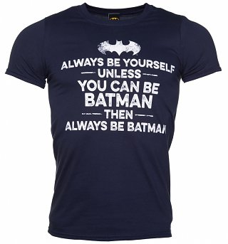 Men's Navy Always Be Batman Slogan T-Shirt
