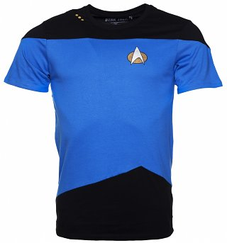Men's Blue And Black Star Trek Next Generation Uniform T-Shirt
