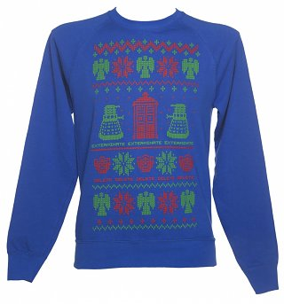 Men's Blue Doctor Who Fair Isle Knit Design Sweater