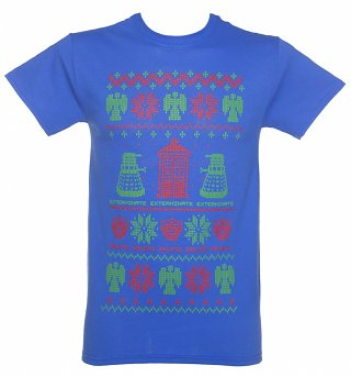 Men's Blue Doctor Who Fair Isle Knit Design T-Shirt