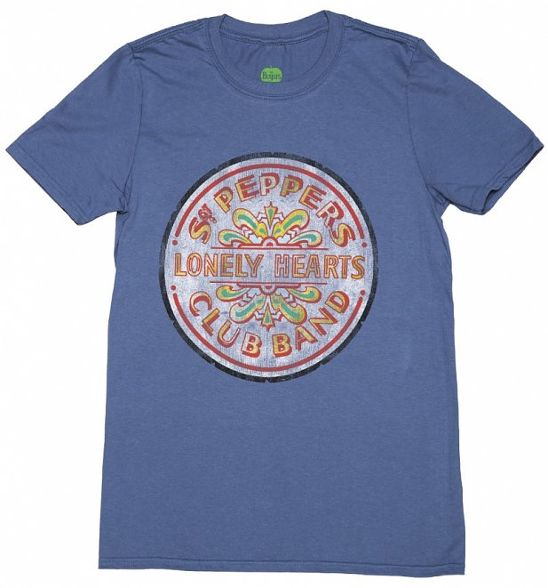 Men's Blue Marl Beatles Sergeant Pepper Lonely Hearts T-Shirt