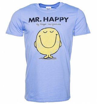 Men's Blue Mr Happy Mr Men T-Shirt