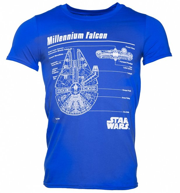 Men's Blue Star Wars Millennium Falcon Blueprint T-Shirt