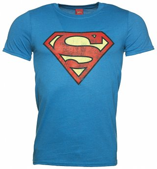 Men's Bright Blue Distressed Superman Logo T-Shirt