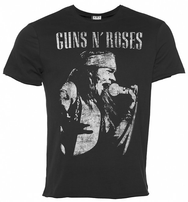 Men's Charcoal Guns N Roses Axl Rose T-Shirt from Amplified