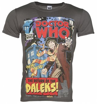 Men's Charcoal Baker Comic Book Cover Doctor Who T-Shirt from BBC Worldwide