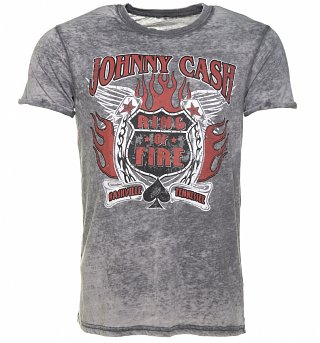 Men's Charcoal Burn Out Johnny Cash Ring Of Fire T-Shirt
