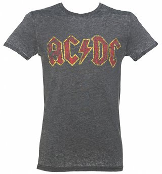 Men's Charcoal Burnout AC/DC Logo T-Shirt