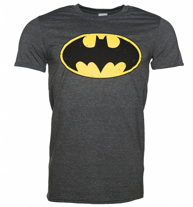 Men's Charcoal Distressed Batman Logo T-Shirt