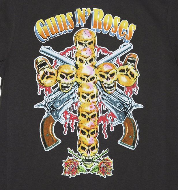 Men's Charcoal Guns N' Roses Neon Skull Cross T-Shirt from Amplified