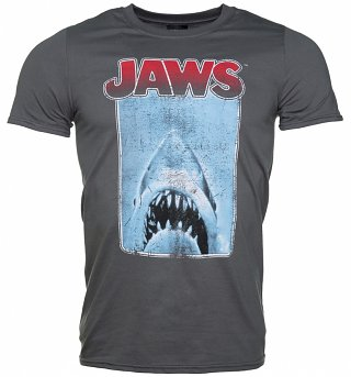 Men's Charcoal Jaws Poster T-Shirt