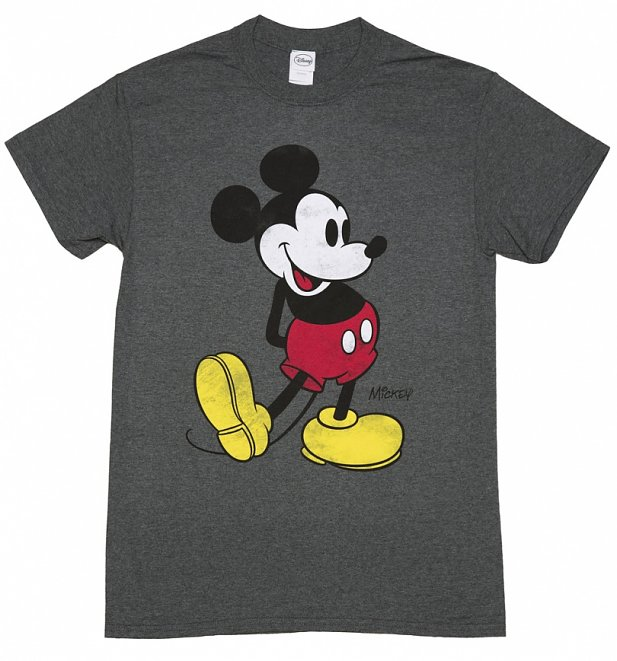 Men's Charcoal Marl Disney Classic Mickey Mouse T-Shirt
