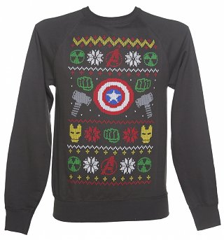 Men's Charcoal Marvel Characters Symbols Fair Isle Knit Design Sweater