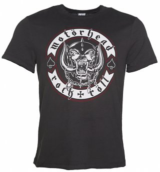 Men's Charcoal Motorhead Biker Badge T-Shirt from Amplified