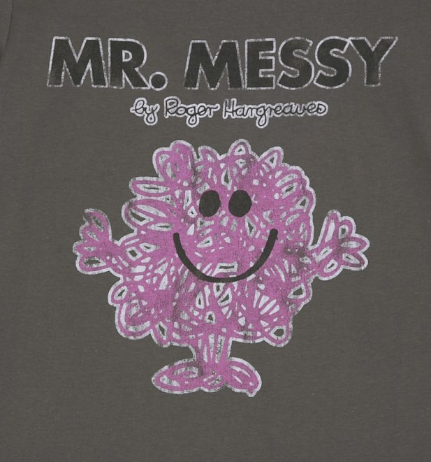 Men's Charcoal Mr Messy Mr Men T-Shirt