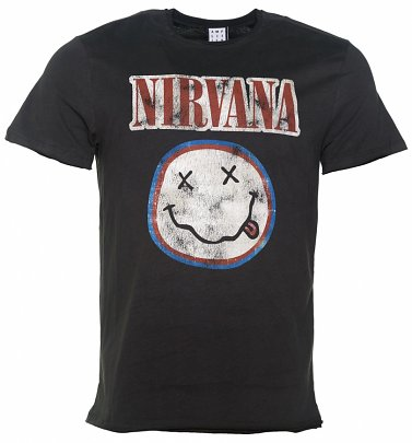 Men's Charcoal Nirvana Smiley Colours T-Shirt from Amplified