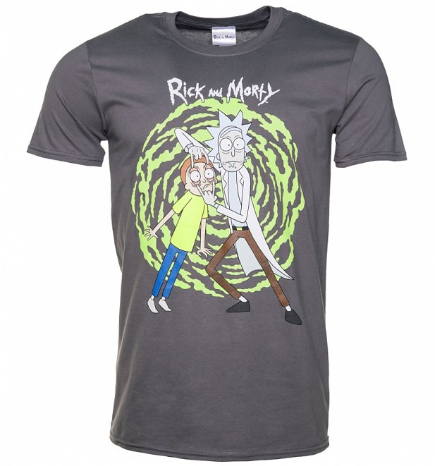 Men's Charcoal Rick And Morty Spiral T-Shirt