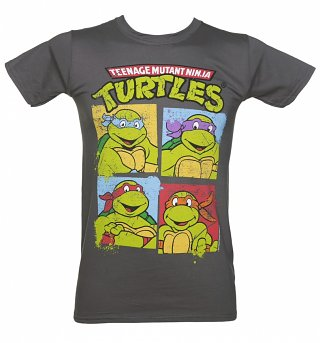Men's Charcoal Teenage Mutant Ninja Turtles Characters T-Shirt