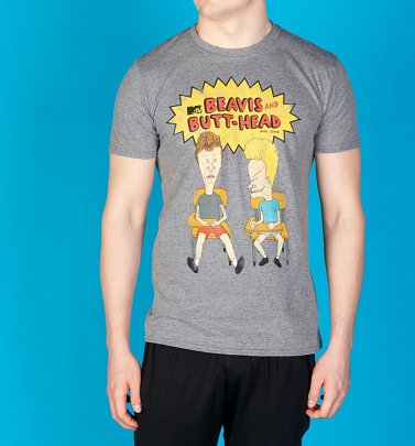Men's Classic Beavis And Butt-Head Grey Marl T-Shirt