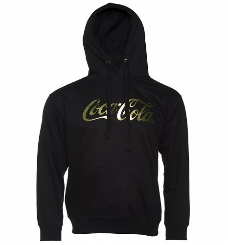 Men's Coca-Cola Gold Foil Logo Black Hoodie